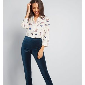 NEW ModCloth Sunny Spirit Button-Up Top Butterfly